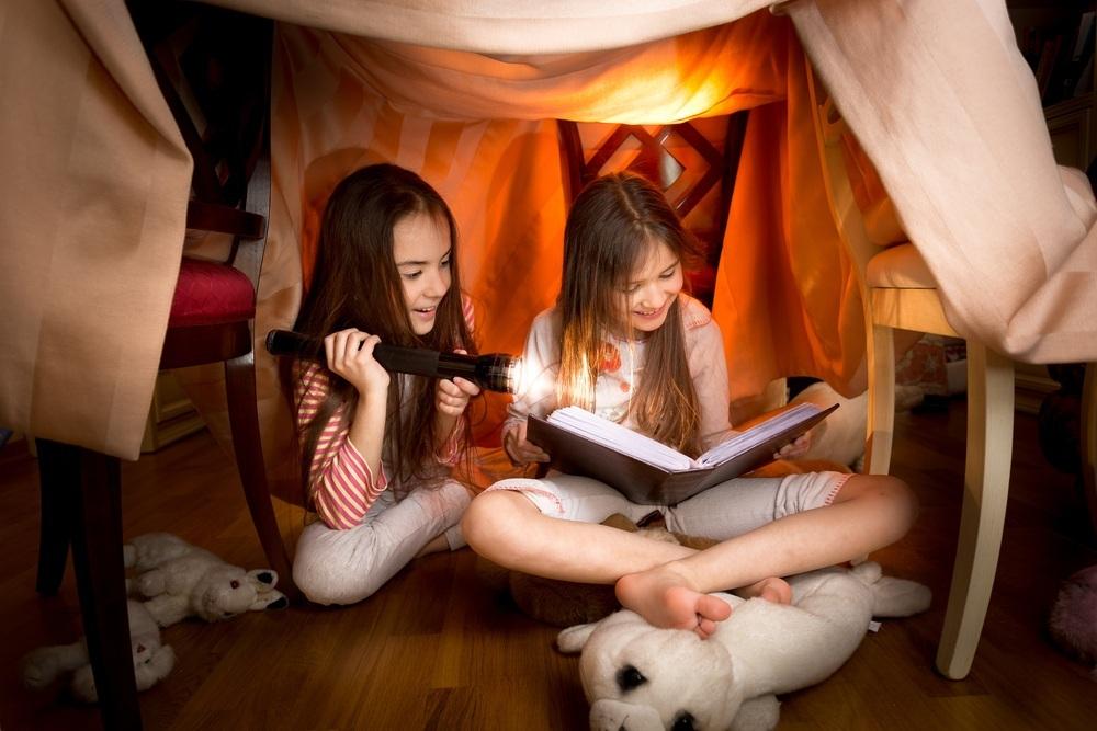 duas-meninas-lendo-um-livro-embaixo-de-uma-cabaninha-no-quarto-foto-kryzhovshutterstockcom-0000000000015B7A