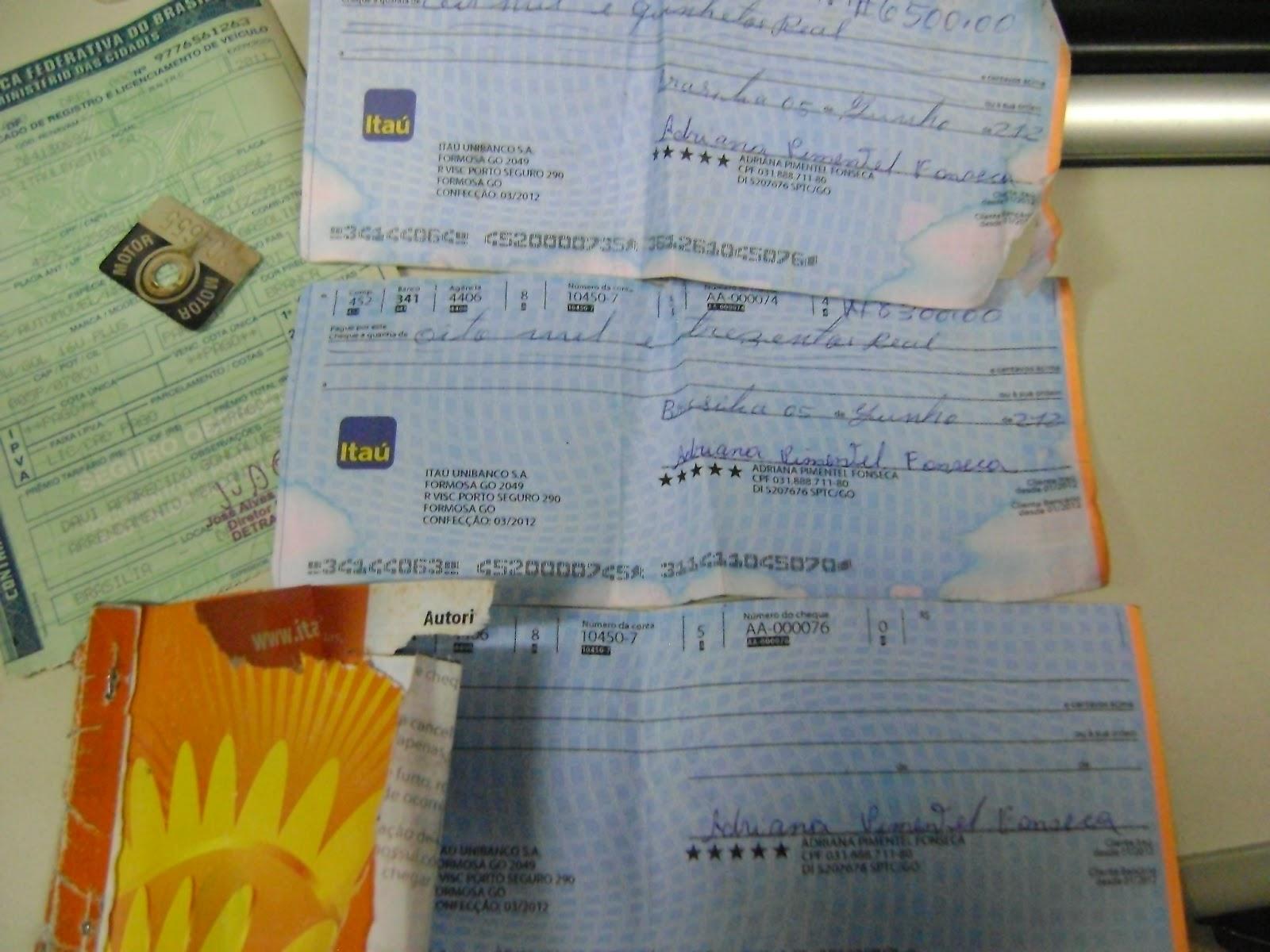 01 cheques Dores de Campos