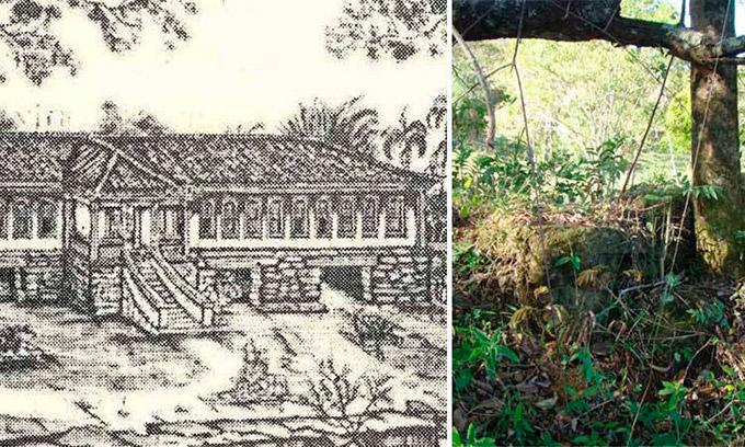 Ilustração de como foi e foto atual das ruínas da Fazenda Ponta do Morro