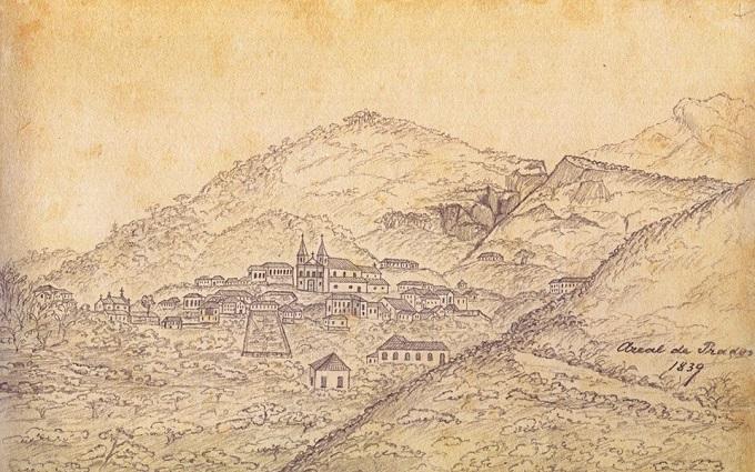 Desenho feito por Ernst Hasenclever em 13 de agosto de 1839. É possível ver na imagem, além da Igreja Matriz e do Rosário, algumas casas que estão de pé, preservadas até hoje.