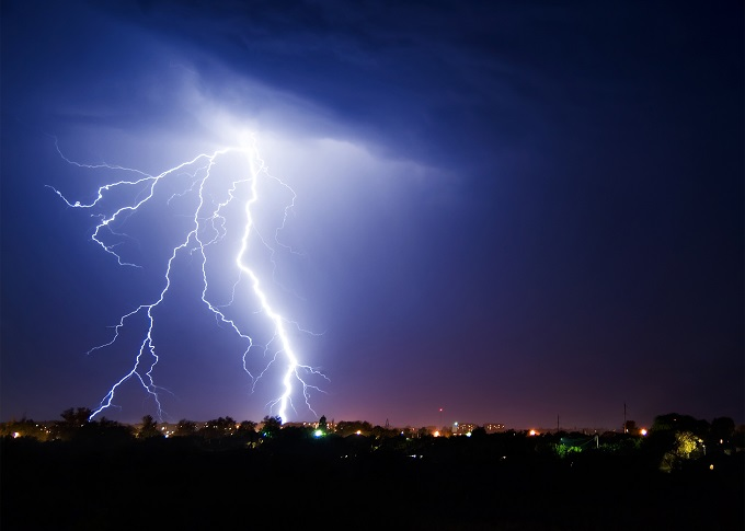 During a thunder-storm, the strong lightning has struck on small town